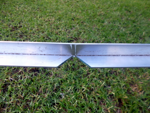 Wedge removed from the aluminium angle