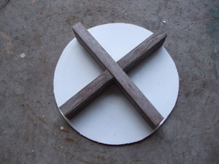 The top of the compression tool, showing wooden stiffener